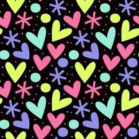 Seamless pattern with hearts and stars vector