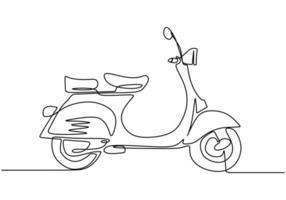Classic scooter. Continuous one line art classical scooter motorcycle vector illustration isolated on white background.
