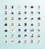 Business icon pack lineal color style