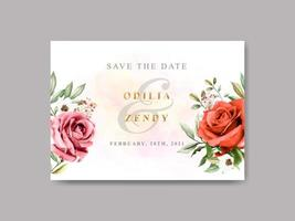 beautiful and elegant floral wedding save the date template vector