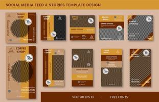 Coffee shop social media stories and feed post bundle kit promotion template vector