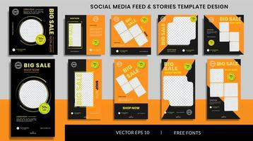 Sale social media stories and feed post bundle kit promotion template vector
