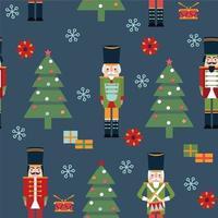 vector de patrones sin fisuras con personajes de Navidad. Adecuado para textiles, tarjetas de regalo y papel de regalo.