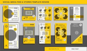 Food and Culinary Social media Stories and feed post bundle vector