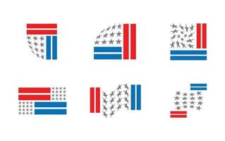set of six redesigned versions of the Us flag vector