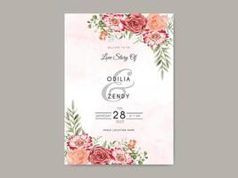 beautiful and elegant floral wedding invitation template vector