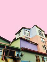 Colorful Houses pink sky