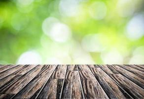 Bokeh background and wooden floor