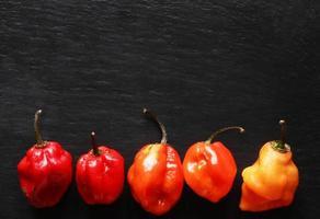 Habanero peppers on black