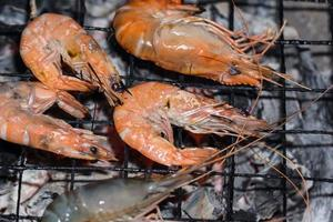 Prawns grilled on charcoal grill