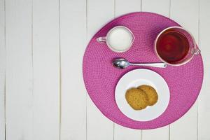 Afternoon hot tea and cookies