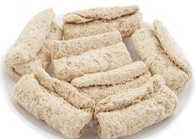 Rolled snack on white photo