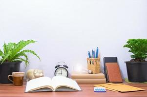 Books and stationery on the desk