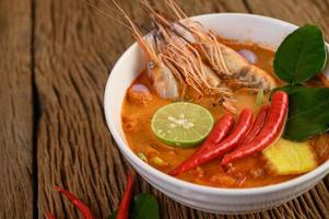 Hot and spicy tom yum kung Thai soup