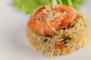 Shrimp fried rice on a white platter