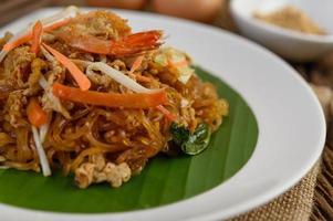 Pad thai shrimp close-up