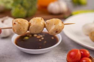 Pork meatballs skewers