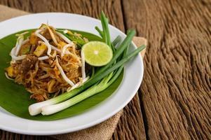 Pad Thai dish on a banana leaf