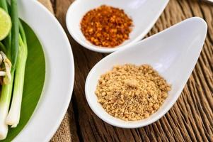 Thai seasoning in a white spoon on a wooden table