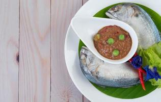 Chili paste in a bowl with mackerel