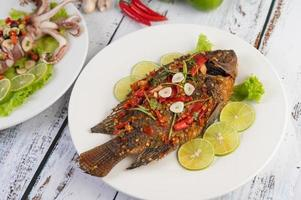 Fried whole tilapia with chili sauce