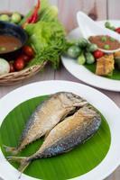 Fried mackerel on a white plate photo