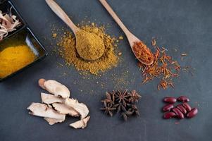 Spices on a gray kitchen surface
