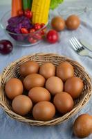 Laid eggs in a wooden basket