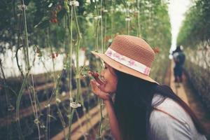 Mujer joven en un invernadero con cosecha de tomates orgánicos foto