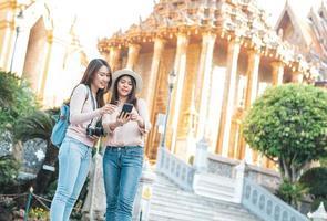 Women tourists taking selfie