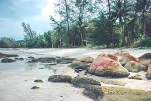 rocas en la playa con nublado cielo azul