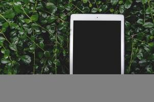 tableta de maqueta negra sobre hoja verde