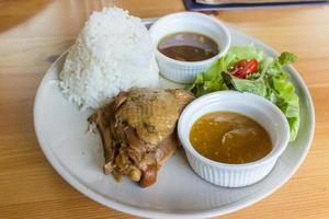 Stewed chicken with rice and salad on white plate photo