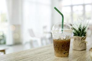 Iced coffee with a straw