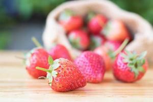 Strawberries on wood table