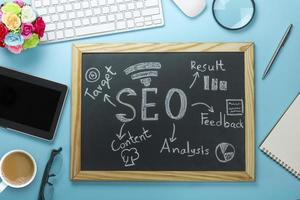 SEO Search Engine Optimization on black board