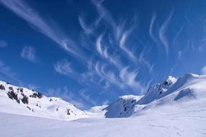 Mountain landscape in winter with cloudy sky