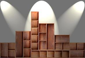estante del gabinete de madera marrón vacío