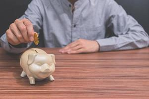 Concept of saving with piggy bank