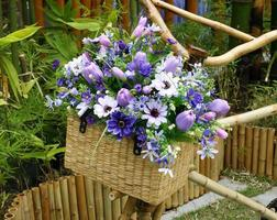 Flowers in a basket photo