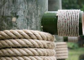Large rope on bamboo wood