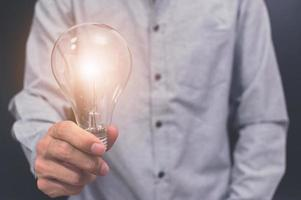 Hand holding a light bulb photo