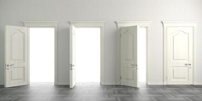 Four white doors open