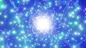Blue bright glowing sci-fi space particle galaxy 3d illustration background wallpaper design artwork