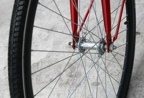 Red bicycle wheel