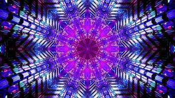 Blinking star shaped blue and pink tunnel 3d illustration background wallpaper design artwork