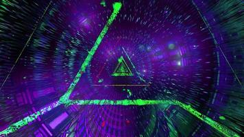Glowing green triangle wireframe 3d illustration background wallpaper design artwork