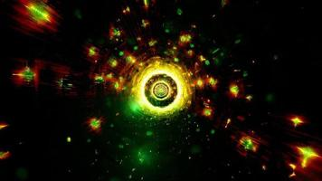 Cool green tech tunnel with glowing neon particles 3d illustration background wallpaper design artwork