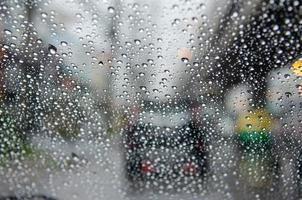 Rain blurred traffic jam