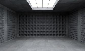 3D illustration of a windowless black room photo